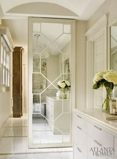 sliding door with mirror and fretwork