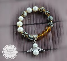 Angel bracelets with semiprecious agate by NylEssidesigns on Etsy, $14.99