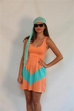 Chevron Tank Dress Apricot/Aqua