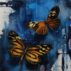 From Abend Gallery, Lindsey Kustusch, Xanthocles Long Wing and the Tiger Butterfly, Oil on panel, 6 × 6 in Butterfly Artwork, Butterfly Painting, Butterfly Wallpaper, Donna Dewberry Painting, Mini Canvas Art, Painting Inspiration, Still Life, Butterflies, Paintings