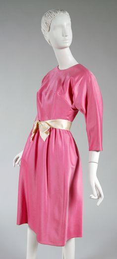 1962, America - Woman's Dress by Gustave Tassell - Hot pink silk, white silk satin ribbon