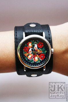 """Наручные часы """"JK"""" - чёрный,хохлома,наручные часы,необычные часы,часы"""