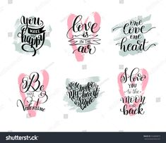 set of handwritten lettering positive quote about love to valentines day, wedding typography, photo album or romantic design, brush modern calligraphy vector illustration Love Caligraphy, Calligraphy Quotes Doodles, Cute Calligraphy, Doodle Quotes, Handwritten Quotes, Handwritten Letters, Short Love Quotes For Him, Love Quotes For Wedding, Love Quotes Funny