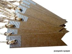 Pennant flag gift tags - with washi tape, eyelets, and twine