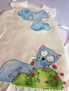 This light and airy wearable art girl dress in natural white with hand painted blue cat and flowers is unique lace dress Our toddler linen off white dress with linen lace and painted cute illustration is very comfy and made with great love and care. Our vintage style dress is one of a