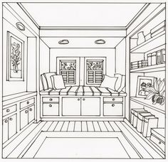 I am always looking for techniques that are easy and fast for drawing one-point perspective interiors. Here is a window seat space that has a bookshelf and ...