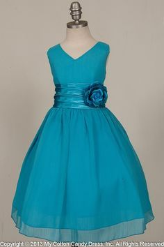 White and Teal Flower Girl Dress