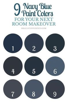 Have a painting project coming up? Here are 9 beautiful navy blue paint colors for your home decor. Navy Paint Colors, Valspar Paint Colors, Cabinet Paint Colors, Room Paint Colors, Interior Paint Colors, Paint Colors For Home, Interior Painting, Home Wall Colour, Stain Colors