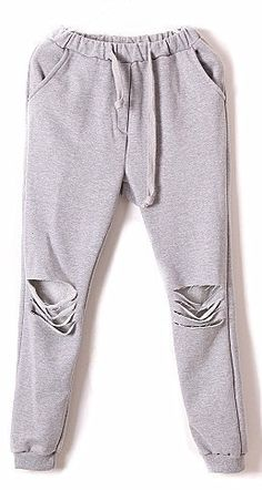 Grey Drawstring Waist Ripped Loose Pant