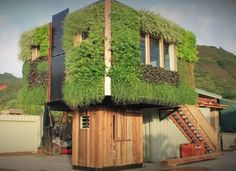 Elevated Off-Grid Tiny House with Live Plant Siding