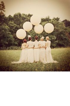 """What a great idea for a unique photo with the bride and her bridesmaids!  36"""" latex in Pearl Ivory for a vintage look or any bright color depending upon theme..."""