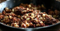 This homemade corned beef hash recipe is quick, easy, and tastes way better than the stuff in the can. Nothing like good ol' fashioned meat and potatoes.