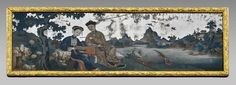 "Chinese Reverse Glass Painting, 18th Century. 12"" x 40"""