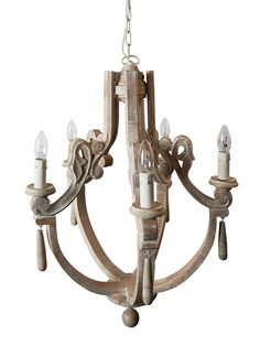 Beautifully carved from mango wood with intricate details and a subtle white wash finish, our Wooden Chandelier is ideal for your bedroom or living room and adds rustic French charm to your space. Each chandelier includes a simple cream flex and chain, matching ceiling rose and space for five candle shaped bulbs. Click here to view our useful lighting buying guide, and take a look at our blog for ideas on how incorporate lighting into your home.