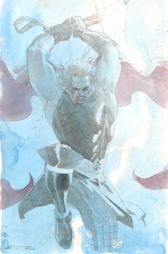 Anthony's Comic Book Art :: For Sale Artwork :: Thor Calling Lightning and Smashing Mjolnir Watercolor Commission Example - Now Accepting Commissions for the New York Comic Con: October 10th - 13thby artist Esad Ribic