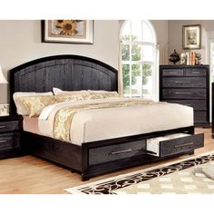 For the bold couple, this two-tone storage bed offers a unique design that's sure to compliment any contemporary home. The arched panel headboard and footboard mimic wood grains while finished in a moody grey. Grey Platform Bed, California King Bedding, Headboard Designs, Beds For Sale, Panel Headboard, Queen Size Bedding, Bedding Collections, Bed Frame, Furniture