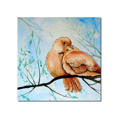 "Original Art Mourning Dove Love Backyard Birds OOAK Painting  5x5"" Aquabord"