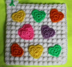 Candy Hearts by Robin M http://www.knit-a-square.com/