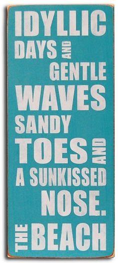 Idyllic Days at the Beach. Subway style beach box sign. $27.95