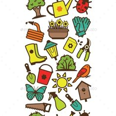 Garden Tool Border (Vector EPS, CS, accessories, agriculture, beetle, bird, birdhouse, black, bucket, butterfly, collection, cultivation, dig, earth, eco, ecology, farm, fence, flower, garden, gardening, glove, group, hose, icon, illustration, isolated, lamp, longue, nature, pictogram, pot)
