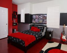 Boy's Room: Grey And Red Bedroom