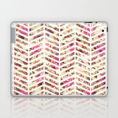 Pink Vintage Floral Girly Chevron Zig Zag Pattern Laptop & iPad Skin
