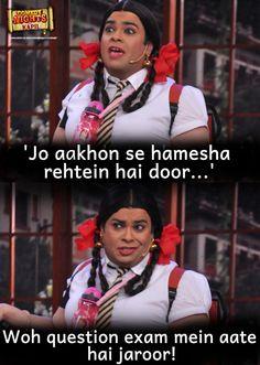 Jo Aaankon Se Hamesha Rehtein Hai Door Comedy Night With Kapil Funny Pics Latest Funny Jokes, Funny Jokes In Hindi, Funny School Jokes, Very Funny Jokes, Really Funny Memes, Hilarious Memes, Desi Jokes, Funny Pics, Fuuny Memes