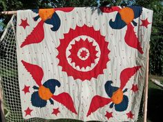 Vintage Patriotic Eagle Quilt Comforter Applique Early from PA Primitive Graphic.....~♥~