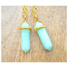 Amazonite Crystal Gold Necklace