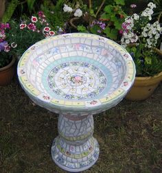 White Shabby Chic Bird Bath made by Karyne, Viva Mosaic Diva on Flickr - More pics showing details on Flickr.