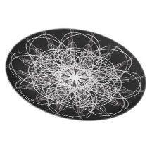 Black and White Kaleidoscope Flower Star Plate