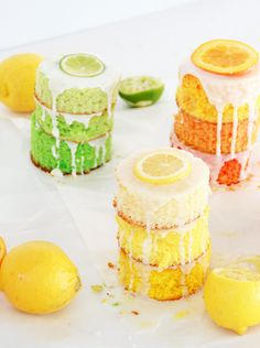 Ombre Citrus Cakes - in lemon, lime and orange!
