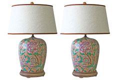 Peony Ginger Jar Lamps, Pair on OneKingsLane.com