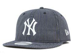 b6d1831ab6d1a New York Yankees Indigo Stripes Short Visor 9Twenty Adjustable Cap by NEW  ERA x MLB