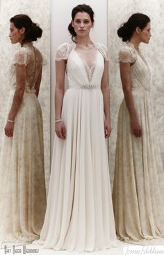 adore the intricate scalloped lace detailing at the top and back but would like a more fitted gown with a longer train