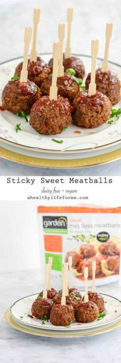 Sticky Sweet Meatballs are the perfect dinner, snack or appetizer. Oh and don't forget they are dairy free and vegan… yep vegan. No meat in these meatballs, but no one will ever know it thanks to Gardein Classic Meatless Meatballs. - A Healthy Life For Me Falafels, Vegan Appetizers, Appetizer Recipes, Meatless Meatballs, Sweet Meatballs, Vegan Wedding Food, My Recipes, Vegan Recipes, Finger Foods