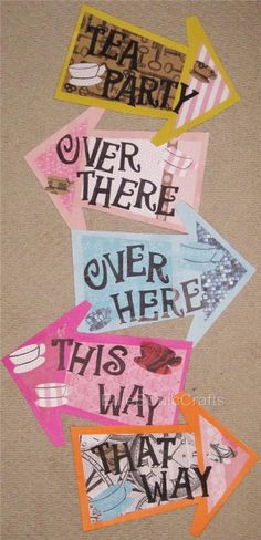 Colorful Alice in Wonderland Arrow Signs - Mad Hatter Tea Party, Bridal or Baby Shower, Birthday, Children's Party (AIW) Mad Hatter Party, Mad Hatter Tea, Mad Hatters, Alice Tea Party, Mad Tea Parties, Alice In Wonderland Tea Party, Tea Party Bridal Shower, Tea Party Birthday, Birthday Ideas