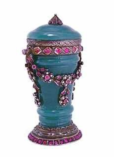European scent bottle, carved Chinese jade, hinged silver mounts, rubies and pearls, silver stopper on chain. Identical quality Chinese jade used by Fabergé. Antique Glass Bottles, Vintage Perfume Bottles, Beautiful Perfume, Antiques, Thrift Stores, Vintage Crafts, Needful Things, Norman, 3d Printer