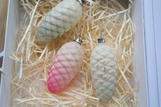 3 cone Christmas glass ornaments Vintage Chritmas tree decorations Antique decor Blue and pink decor