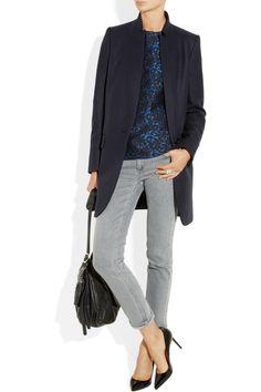 Stella McCartneyBryce wool and cashmere-blend coat  Stella McCartney top, Bottega Veneta ring, Gucci ring, Victoria Beckham Denim jeans, Christian Louboutin shoes, Jimmy Choo bag.