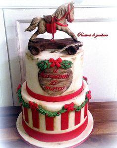 Christmas cake by passioni di zucchero Christmas Themed Cake, Christmas Cake Pops, Christmas Sweets, Noel Christmas, Christmas Cookies, Christmas Balls, Beautiful Cakes, Amazing Cakes, Horse Cake