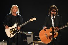 Jeff Lynne Musicians Joe Walsh (L) and Jeff Lynne perform onstage during 'The Night That Changed America: A GRAMMY Salute To The Beatles' at...