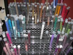 Seed bead storage plastic test tubes. Sequins, findings, jewelry parts, buttons, snaps, eyelets, hooks, pins.