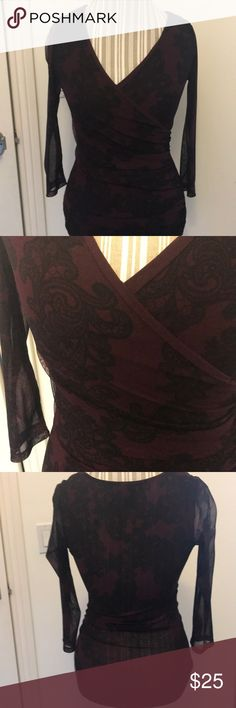 Maroon low neck blouse