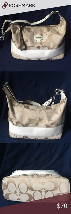 """COACH signature stripe hobo This Coach signature stripe hobo shoulder bag is a khaki and cream stripe. It's a signature water and stain resistant fabric. The strap features a leash clip and soft leather padding for shoulder comfort. Zip top opens to a khaki lining . The dimensions are 16""""W , 8.5"""" H , 5""""D , and about 10"""" strap drop . Great condition... Coach Bags Hobos"""