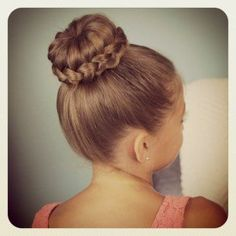 This is the bun needed for RMD recitals. Lace Braid Bun | Cute Updos and more Hairstyles from CuteGirlsHairstyles.com