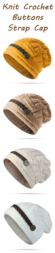 Knit Crochet Buttons Strap Cap Decorative Braids Baggy Beanie Hat is hot sale on Newchic. Knitting Hats, Knit Hats, Loom Knitting, Beanie Hats, Knitting Patterns, Crochet Patterns, Crochet Quilt, Crochet Yarn, Knotted Headband