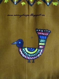 Madhubani Painting Madhubani painting originated in a small village, known as Maithili, of the Bihar state of India. Madhubani Paintings Peacock, Madhubani Art, Saree Painting, Fabric Painting, Drawing For Kids, Art For Kids, Peacock Drawing, Salwar Neck Designs, Advanced Embroidery
