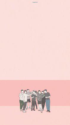 Wallpaper - Cr: ggaeal_ggaeal Chanyeol, Exo Exo, Exo Group Photo, Exo Stickers, Kpop Anime, Cute Pastel Wallpaper, Instagram Background, Exo Fan Art, Exo Lockscreen