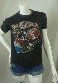 Vintage The Steve Miller Band 1978 U.S. Tour T-shirt Tee Black SM Concert A39